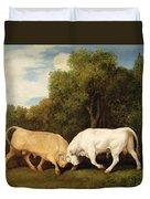 Bulls Fighting Duvet Cover