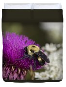 Bumble Bee And Bristle Thistle Duvet Cover