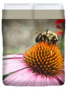 Bumble Bee Feeding On A Coneflower Duvet Cover