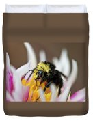 Bumblebee Attacking Flower Duvet Cover