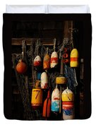 Buoys On Fishing Shack - Greeting Card Duvet Cover