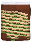 Burger Town Usa Map Brown Duvet Cover