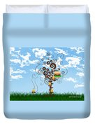 Burger Tree House And The Cupcake Kids  Duvet Cover