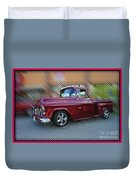 Burgundy Hot Rod Pick Up Abstract Duvet Cover