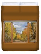Burning Autumn Aspens Back Country Colorado Window View Duvet Cover