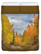 Burning Orange And Gold Autumn Aspens Back Country Colorado Road Duvet Cover