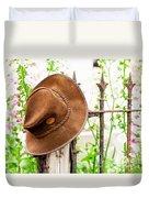 Bush Hat On Railing Duvet Cover