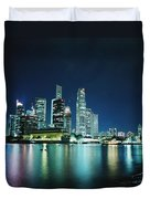 Business District Skyline At Night Duvet Cover