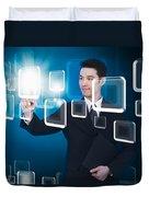 Businessman Pressing Touchscreen Duvet Cover by Setsiri Silapasuwanchai
