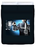 Businessman Touching Screen Button Duvet Cover