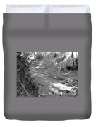 Butte Creek In Black And White Duvet Cover