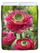 Buttercup Ranunculus Sp Mirabelle Vert Duvet Cover