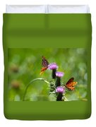 Butterflies On Thistles Duvet Cover