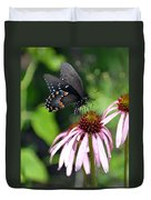 Butterfly And Coine Flower Duvet Cover