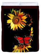 Butterfly And Sunflower Duvet Cover