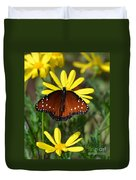 Butterfly And Yellow Flowers Duvet Cover