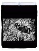 Butterfly Bark Black And White Duvet Cover