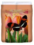 Butterfly On Orange Tulip Duvet Cover