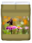 Butterfly On Pink Zinnia Duvet Cover