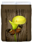 Butterfly With Calla Lily Duvet Cover