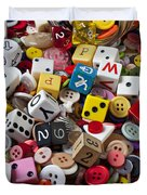 Buttons And Dice Duvet Cover by Garry Gay