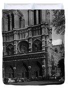 Vintage France Paris Notre Dame Cathedral 1970 Duvet Cover