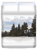 Cabin In Snow With Mountains In Background Duvet Cover