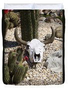 Cactus And Cow Skull Duvet Cover
