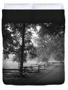 Cades Cove Tennessee In Black And White Duvet Cover