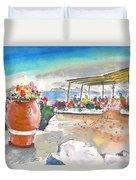 Cafe On Agios Georgios Beach Duvet Cover