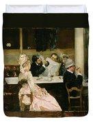 Cafe Scene In Paris Duvet Cover by Henri Gervex