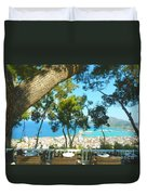 Cafe Terrace At Bohali Overlooking Zante Town Duvet Cover