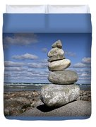 Cairn At North Point On Leelanau Peninsula In Michigan Duvet Cover