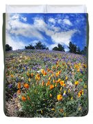 California Poppies And Lupins On A Hill Duvet Cover