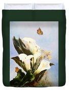 Callas And Butterflies Duvet Cover