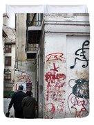 Calle Alvaro De Bazan Graffiti Duvet Cover