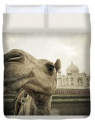 Camel In Front Of The Yamuna River And Duvet Cover