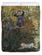 Camille And Jean In The Garden At Argenteuil  Duvet Cover