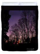 Camp Fire Sunset Duvet Cover