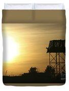 Camp Warhorse Guard Tower At Sunset Duvet Cover