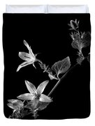Campanula In Black And White Duvet Cover