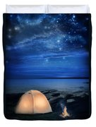 Camping Tent By The Lake At Night Duvet Cover
