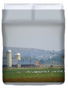 Canada Geese And Other Birds Fill Duvet Cover