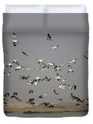 Canada Geese And White Geese Migration Duvet Cover