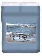 Canada Geese In Lake Erie Duvet Cover