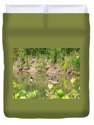 Canada Geese On Pond Duvet Cover