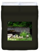 Canada Geese With Goslings Duvet Cover