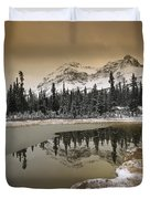 Canadian Rocky Mountains Dusted In Snow Duvet Cover by Tim Fitzharris