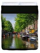 Canal Scene In Amsterdam Duvet Cover