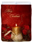Candle Light Christmas Card Duvet Cover